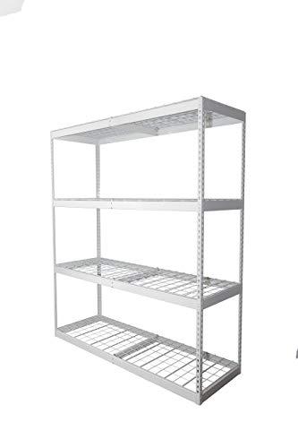 "SafeRacks 2x6x7 Garage Shelving - White Bolted Shelving Rack (24"" x 72"" x 84"") - 500 Pounds Per Shelf High Grade Steel"