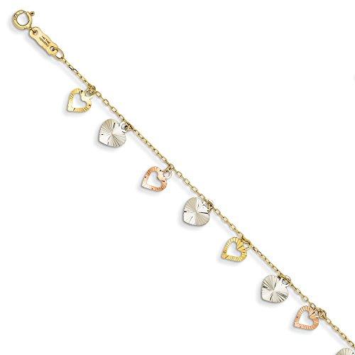 Tri-Color 14 carats Bracelet enfant - 18,4 cm-Anneau à ressort-JewelryWeb