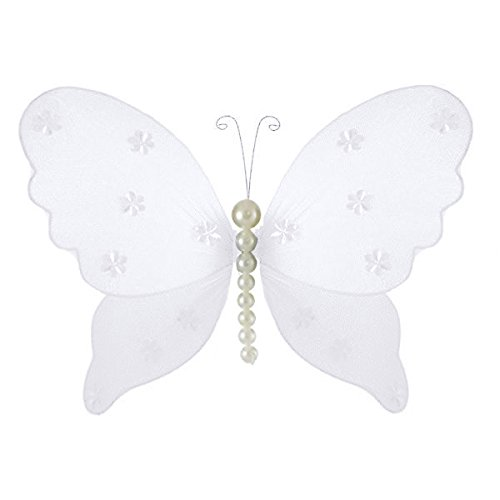Isabella Pearl Butterfly Decoration 3D Hanging Mesh Organza Nylon Decor, Plumeria White, Small, 5