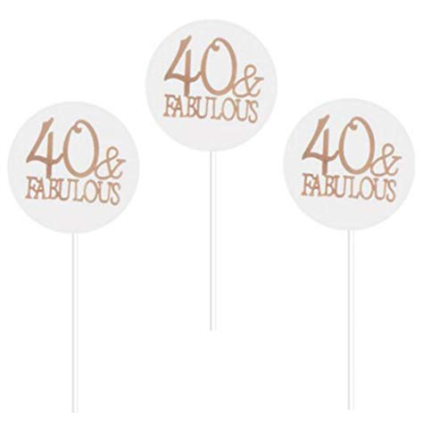 24 Pack of Rose Gold Foil 40 and Fabulous Cupcake Toppers 40th Birthday Party Cupcake Toppers Number