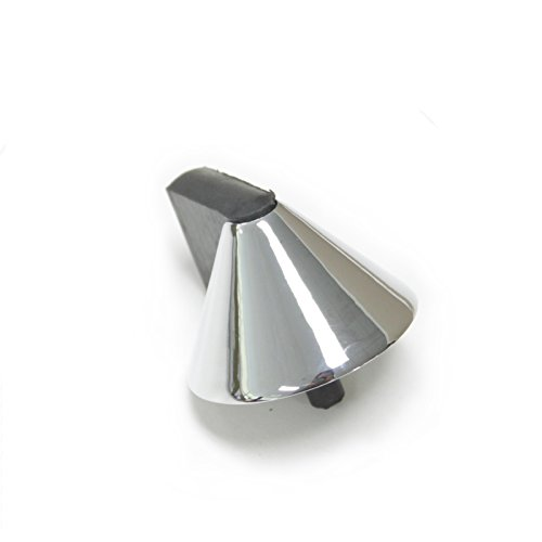 Polished Chrome Cone Cone (2 Pack Cone Door Stopper Stop Security Bar Wedge Projection,Black Rubber,Satin Nickel/Polished Chrome,Zinc Alloy)