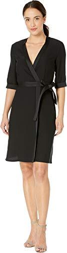 Tahari by ASL Women's Elbow Sleeve Mock Wrap Crepe Dress Black 4
