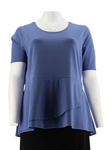 Isaac Mizrahi Elbow SLV Peplum Flounce Knit Top Marlin Blue XL # A303962 from Isaac Mizrahi Live!