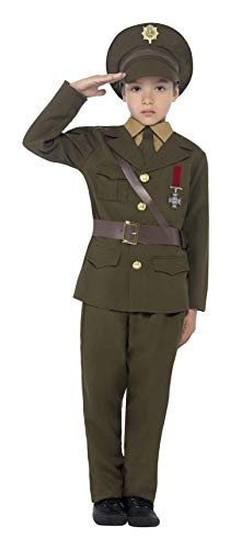 Smiffys Children's Army Officer Costume, Jacket, Belt, Trousers, Hat, Mock Shirt & Tie, Boys, Ages 10-12, Size: Large, Color: Green, 27536
