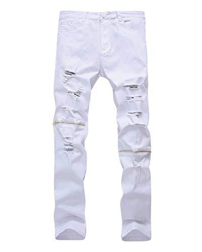 Closure color Tempo Knee Il waist74cm Pants Per Denim Whiteb Da 29 Alla Uomo Skinny Hat Strappati Moda Jeans Libero Comodo Battercake Vintage Size p8SYUw
