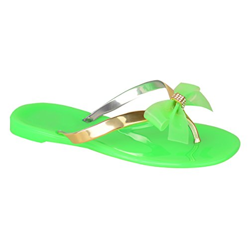 Green Jelly Sandals (Fashion Thirsty Womens Girls Jelly Sandals Shoes Flat Beach Summer Flip Flops Shoes Size 5)