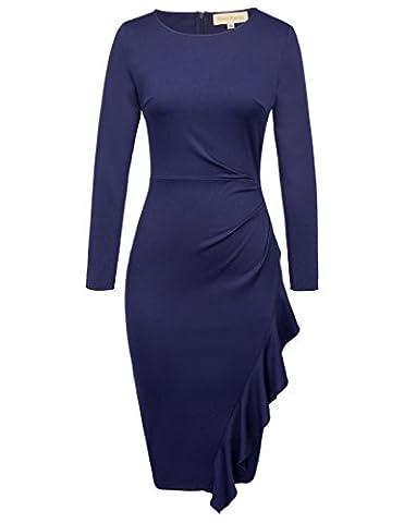 Women Long Sleeve Office Pencil Dresses Wear to Work Navy Blue L,KK789-1 (Long Sleeve Office)