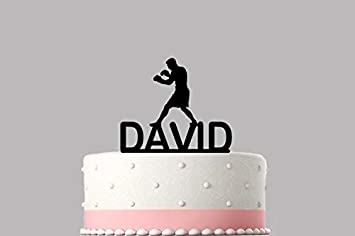 2daaa5b553911 Boxer Boxing Gloves Personalised cake topper acrylic, NAME Happy ...