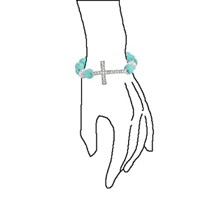 Bling Jewelry Reconstituted Turquoise Cross Shamballa Inspired Stretch Bracelet Rhodium Plated