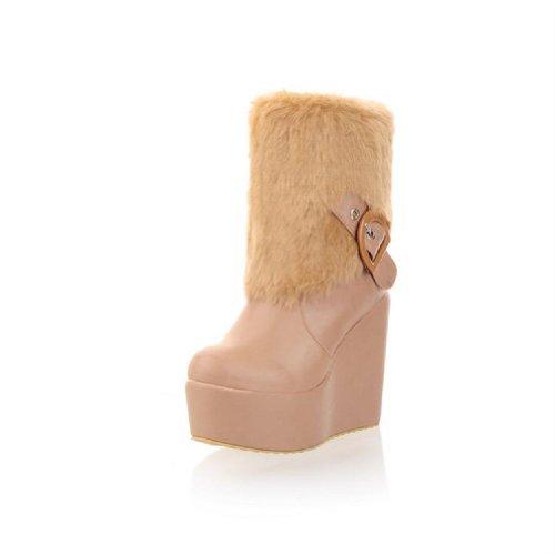 Charm Foot Faux-fur Piattaforma Donna Zeppa Stivali Da Neve Stivali Invernali Beige