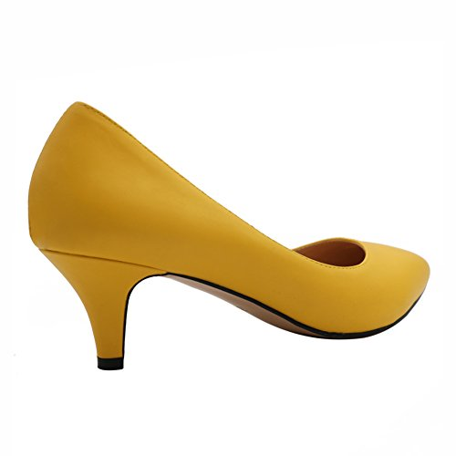 MERUMOTE - Tacón bajo mujer Amarillo - Yellow-Matte