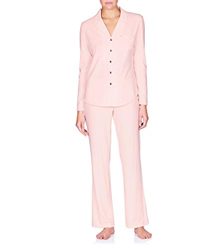 Naked Women's Essential Cotton Spandex Long Sleeve Button-up Pajama Set, Barely Pink Large