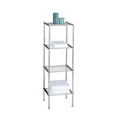 Organize It All 4 Tier Chrome Freestanding Bathroom Storage Shelf - Fabric Type: Metal - shelves-cabinets, bathroom-fixtures-hardware, bathroom - 31 911%2Bav6L. SS400  -