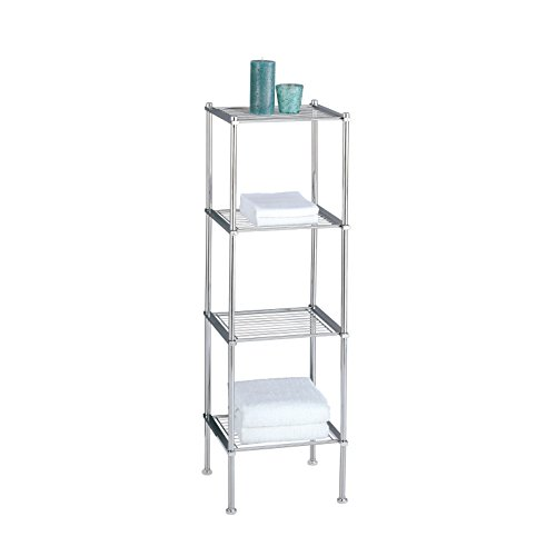 Organize It All 4 Tier Chrome Freestanding Bathroom Storage Shelf by Organize It All