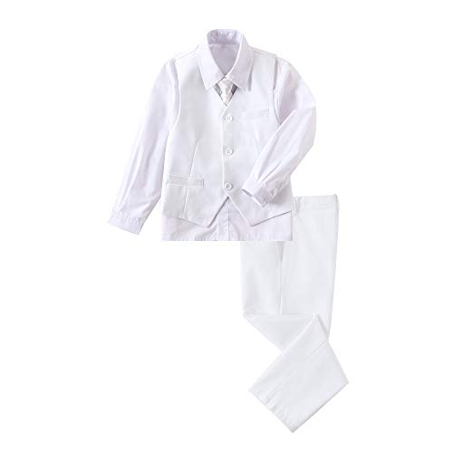 YuanLu Boys' First Communion Suits Vest and Pants Set with Dress Shirt and Tie White Size 8 -