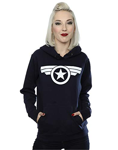Marvel Women's Captain America Super Soldier Hoodie Navy Blue Small