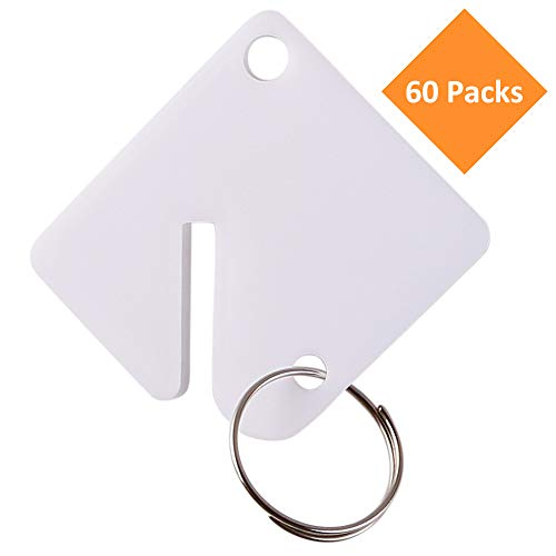 GoorDik 60 Pcs Key Tags Blank Plastic Upgrade Round Split Ring Durable Key Identify Tags Bulk Key Tags for Key Cabinet 1.5 inches Square Shaped