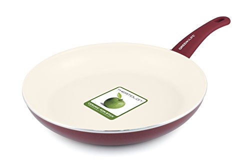 "GreenLife Soft Grip 12"" Ceramic Non-Stick Open Frypan, Burgundy"