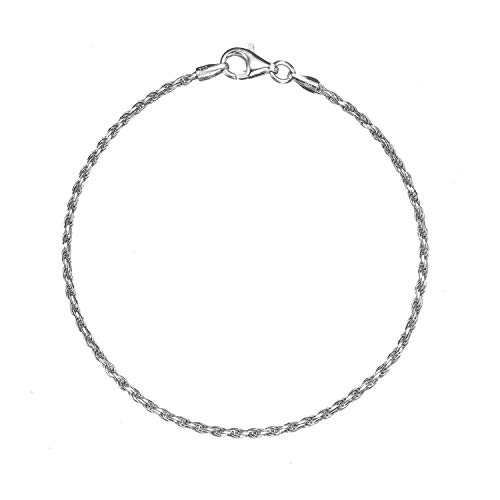 Solid 925 Sterling Silver 1.6mm Italian Diamond Cut Twisted Rope Chain Anklet - 10