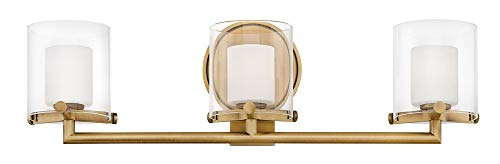 (Hinkley 5493HB-LL Rixon Wall Vanity, 3-Light, 13.5 Total Watts LED, Heritage Brass)