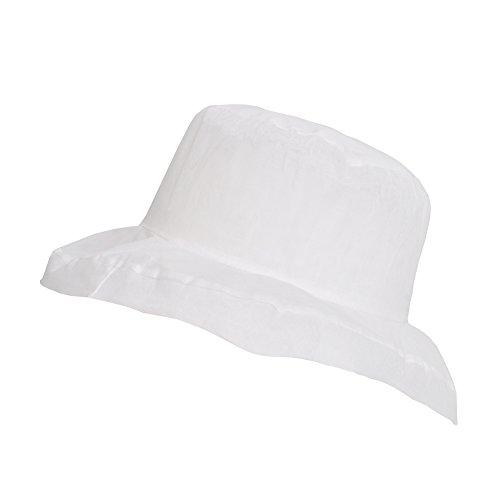 13f97b1ceba35 TOUTACOO Women s Ultra Light Wide-Brimmed Organza Cotton Summer Hat White