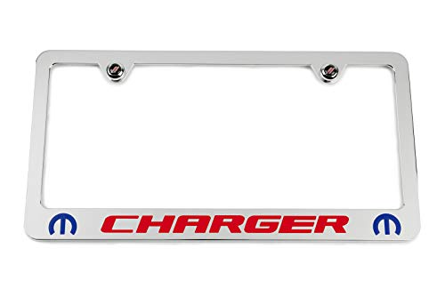 High-End Motorsports Dodge Charger Mopar Chrome License Plate Frame - Blue & Red Engraving - USA Made