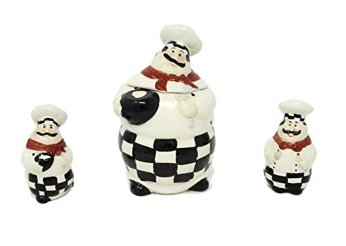 Sophia Essential 4 Piece Bon Appetit Fat Chef Sugar Canister & Salt and Pepper Set (Fat Chef Kitchen Cookie Jar)