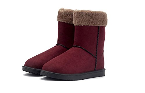 KUKI Damenstiefel, Damenschuhe, mattes Leder, Schneeschuhe, plus Kaschmir, rutschfest, im Schlauch, Martin, Regenstiefel, wasserdichte Schuhe, warme Schuhe wine red