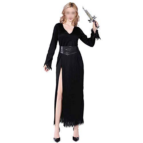 Ladies Vampire Costumes Devil Corpse Bride Black Evil Witch Queen Cosplay Masquerade Party,Black,S