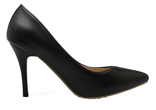 VogueZone009 Women's Pointed Closed Toe Pull-on PU Pumps-Shoes Black JnXy4