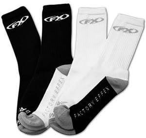Factory Effex Icon FX Crew Socks White, Size 9-13