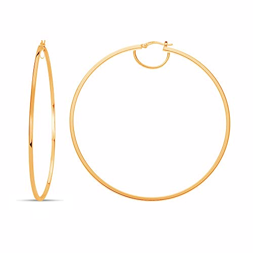 LeCalla Sterling Silver Yellow Gold BIG 80mm Italian LARGE Hoop Earring for Women