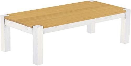 Online Winkelen Brasilmöbel, Rio Kanto salontafel, 150 x 73 cm, licht eiken, wit, woonkamertafel, houten tafel, massief grenen, salontafel, bijzettafel, echt hout, afmetingen en kleur naar keuze  czC1sEf