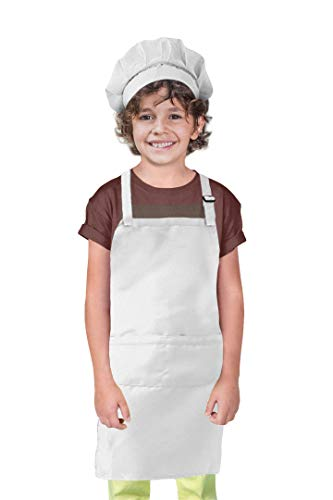 Chef Costume for Kids, Chef Hat and Apron Set for Children, Chef Baker Costume for Girls Boys, Adjustable Hat and Kitchen Bib for Cooking, Baking, Best Gift for Girls Boys Ages 5 to 12, White, Large