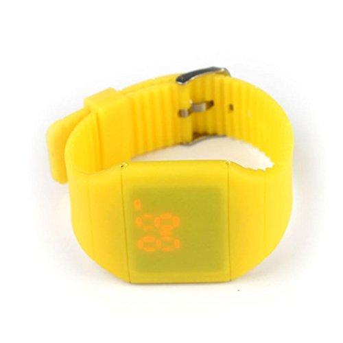 Calendar Yellow Bracelet - GOTD Girl Boy Waterproof Digital LED Touch Sports Silicone Bracelet Wrist Watch (Yellow)