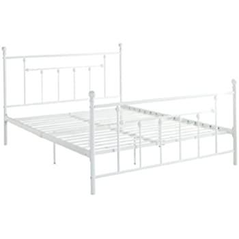 DHP Manila Metal Bed with Victorian Style Headboard and Footboard  Includes  Metal Slats  Queen. Amazon com  DHP Rosedale Metal Canopy Bed  Queen Size   Black