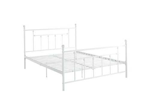 DHP Manila Metal Bed with Victorian Style Headboard and Footboard, Includes Metal Slats, Queen Size,...