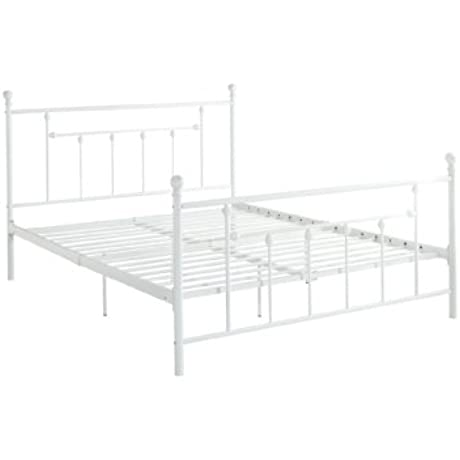 DHP Manila Metal Bed With Victorian Style Headboard And Footboard Includes Metal Slats Queen Size White