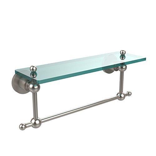 Allied Brass AP-1TB 16-SN Glass Shelf with Towel Bar, 16-Inch x 5-Inch by Allied Brass