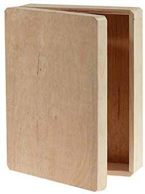 """Darice Unfinished Wooden, 12 x 9.125 x 3.25 – DIY Wood Box with Hinge, 9.125"""" x 12"""" x 3.25"""""""
