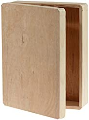 """Darice Unfinished Wooden, 12"""" x 9.125"""" x 3.25"""" – DIY Wood Box with Hinge, 9.125"""" x 12&quo"""