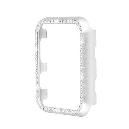 Cover Bling Rhinestone Diamond (iTerk Compatible with Apple Watch Case 38mm, Metal Cover Bumper Protective Frame Accessories Women Girl Bling Shiny Crystal Rhinestone Diamond Compatible iWatch Series 3/2/1(Silver Diamond 38mm))