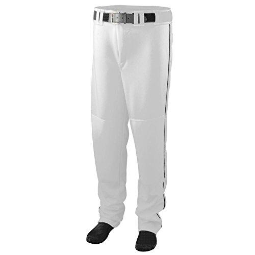 Augusta Activewear Series Baseball/Softball Pant with Piping - Youth, White/Black, Medium - Piping Jersey Softball