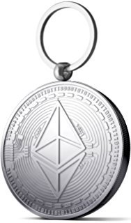 Ethereum Coin Key Chain   Silver Plated Cryptocurrencies Keychain