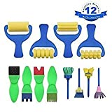 Best Kid Art Supplies - Rollers Brush for Kids, 12Pcs Sponge Painting Brushes Review