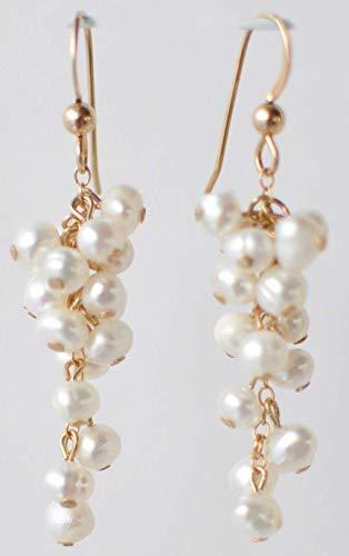 - Elegant Rose Gold Pearl Dangle Earring - 14k Gold Fill Gemstone Jewelry Gift - Christmas,Holiday,Hanukkah, Stocking