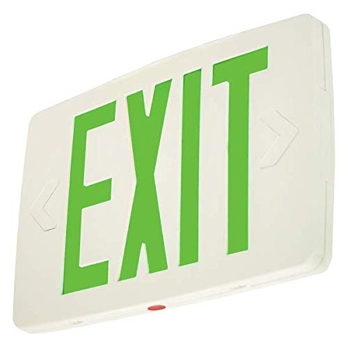 LFI Lights - Hardwired Super Thin LED Exit Sign - Double Sided - Green LED - Battery Backup - LEDTGD by Light Fixture Industries