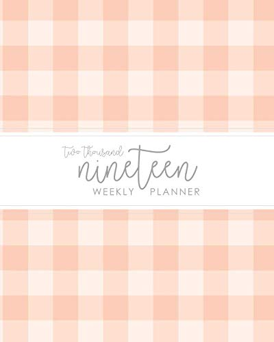 2019 Weekly Planner: Daily Weekly Monthly Agenda Calendar Schedule Organizer | Blush Pink Gingham Buffalo Check Cover With Grey Lettered Calligraphy | January 2019 through December - Gingham Calendar