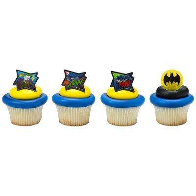 Batman Comic Cupcake Topper Rings - Set of -