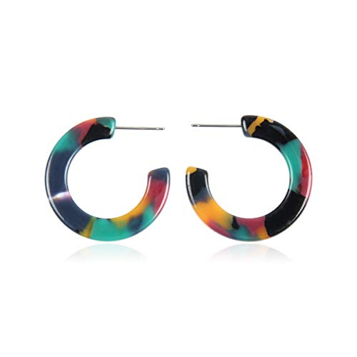 Lightweight Multi Color Acetate Hoop Earrings - Mottled Resin Geometric Statement Leopard Round Circle/Animal Disc Threader/Tortoise Leaf/Marbled (Hoop Mottled - Multi, 1)